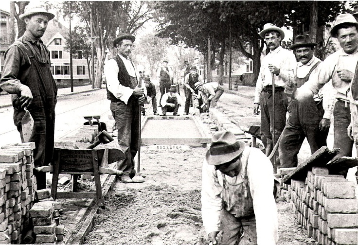 trolley track work on maple street circa 1900